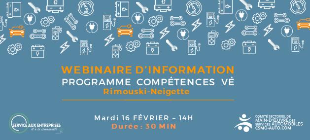 Invitation au webinaire d'information pour présenter le programme Compétences VE