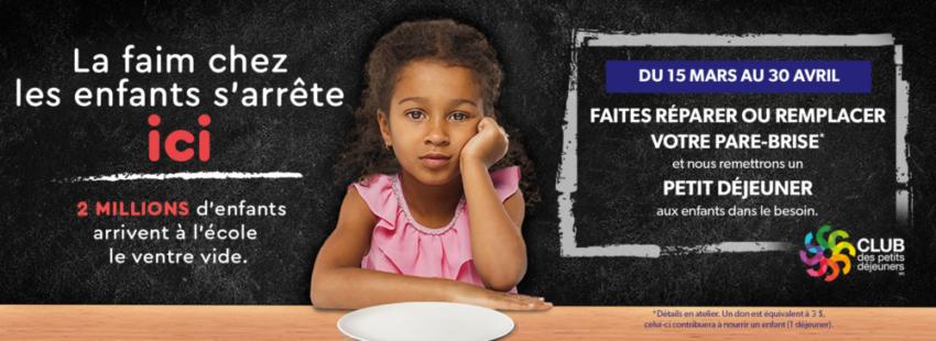 VitroPlus combat la faim dans les écoles par le biais de ses réparations et remplacements de pare-brise